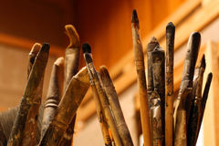 Artist Brushes. A lot of paint brushes from an artist's atelier Royalty Free Stock Photography