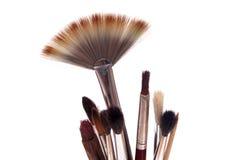 Artist brushes. Group of artist brushes isolated on white Royalty Free Stock Photo