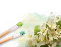 Artist brushes with a half painted floral canvas Royalty Free Stock Photography