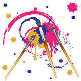 Artist Brushes with Paint Royalty Free Stock Photo
