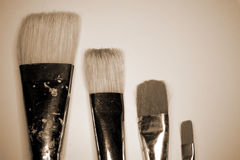 Artist brushes in sepia Stock Photo