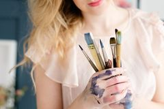 Artist brushes set leisure painting hobby tools. Artist brushes set. instruments and tools for creative leisure. painting hobby royalty free stock image