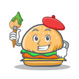 Artist burger character fast food Royalty Free Stock Image
