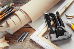 Artist Canvas In Roll, Canvas Stretcher Stock Photo