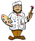 Artist. Cartoon Artist Color pallet white coat and hat Stock Photography