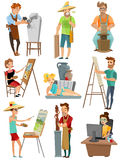 Artist Cartoon Set. With poeple and painting isolated vector illustration Royalty Free Stock Photo