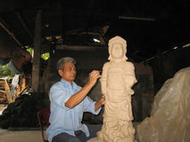 Artist  of Cay pottery village  clay statue of a deity Stock Photos