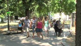The artist in the central square of Varna, Bulgaria stock video