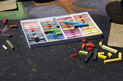 Artist chalk supplies for street art royalty free stock photo