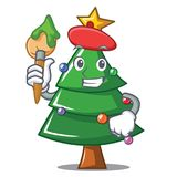 Artist Christmas tree character cartoon. Vector illustration Stock Photos