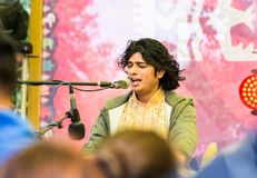 Artist of classical Indian music in the styles of Drupad, Dhamar, Khyal, Ghazal. Tyumen, Russia - June 15, 2019: Ethnofest `Heaven and Earth` - Annual All stock image
