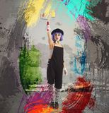 Artist clown paint. Creative artist clown paint with the roller Royalty Free Stock Photography