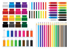 Artist color stationary flat design Royalty Free Stock Photography