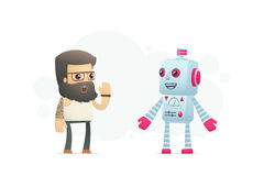 Artist communicates with robot Royalty Free Stock Photo