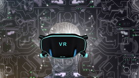 Artist concept Virtual Reality headset. stock video footage
