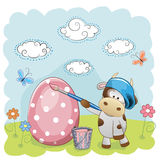 Artist Cow. Cute Cow with brush is colored an egg stock illustration