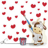 Artist Cow. Cute Cow with brush is drawing hearts vector illustration