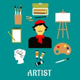 Artist or craftsman with art icons Stock Photography