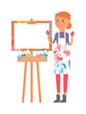 Artist creative girl vector character Royalty Free Stock Photography