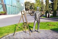 Artist. Culpture of the artist on seaside boulevard, Baku, Azerbaijan Royalty Free Stock Images