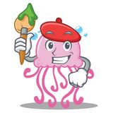 Artist cute jellyfish character cartoon. Vector illustration Stock Photos