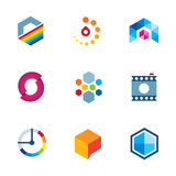 Artist design community logo creative industry visual icon set Royalty Free Stock Images