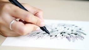 Artist desk top view pen, pencil mandala flower floral hand drawing Stock Photo