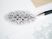 Artist desk top view pen, pencil mandala flower floral hand drawing Stock Images