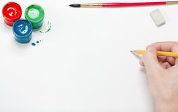 The artist does a sketch by a pencil Stock Images