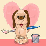 Artist Dog. Cute Dog with brush is drawing a heart Stock Image