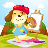 Artist dog painting Stock Images
