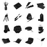 Artist and drawing set icons in black style. Big collection of artist and drawing vector symbol stock illustration Stock Photos