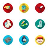 Artist and drawing set icons in flat style. Big collection of artist and drawing vector symbol Stock Photos