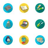 Artist and drawing set icons in flat style. Big collection of artist and drawing vector symbol stock illustration Stock Image