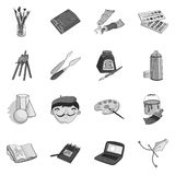 Artist and drawing set icons in monochrome style. Big collection of artist and drawing vector symbol stock illustration Stock Image