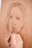 Artist Drawing Sketch of Womans Face Royalty Free Stock Photo