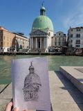 Artist drawing in Venice stock photo