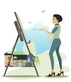 Artist drawing. Stock Images