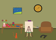 Artist draws. Picture in its house, cat near by him Stock Photography