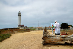 The artist draws a beacon picture. Pigeon point Lighthouse Stock Photos