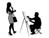 Artist draws Stock Photo