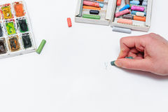Artist draws sketch Stock Image