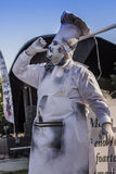 Artist dressed as chef. Artist dressed as a cooking chef during a street art performance at International Festival of Living Statues on May 30, 2015 in Bucharest Stock Photography