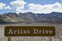 Artist Drive sign in Death Valley Desert National Park, California Royalty Free Stock Image