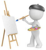 The Artist. Dude the Artist painting. Holding brush and palette. 3D little human character. Side view Royalty Free Stock Photography