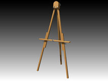 Artist Easel 02. A computer generated image of a wooden artist's easel.  Perspective view from an angle Royalty Free Stock Photography