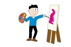 Artist with easel. Illustrated cartoon male painter holding pallet of paints with easel and canvas Royalty Free Stock Images