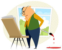 Artist with easel. Artist stands in front of his easel Royalty Free Stock Images