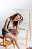 Artist at the easel Royalty Free Stock Image