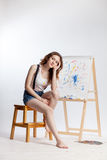 Artist at the easel Stock Photography